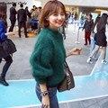 2016 nueva venta caliente de la mujer otoño invierno suéteres de angora cuello de Media altura de la mujer espesar linterna flojas de la manga suéteres abrigos