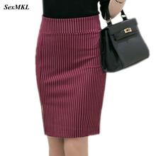 Женские юбки в полоску размера плюс, зима, эластичная элегантная сексуальная юбка с высокой талией, облегающая Офисная Женская официальная мини-юбка-карандаш 5XL
