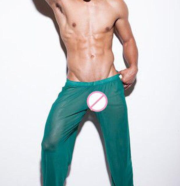 Мода Марка Мужчины Сексуальная Mesh Прозрачный Длинные Брюки Пижамы Днища/Гей Отношение Эротическое Шелковый Салон Брюки Пижамы/Loungewear