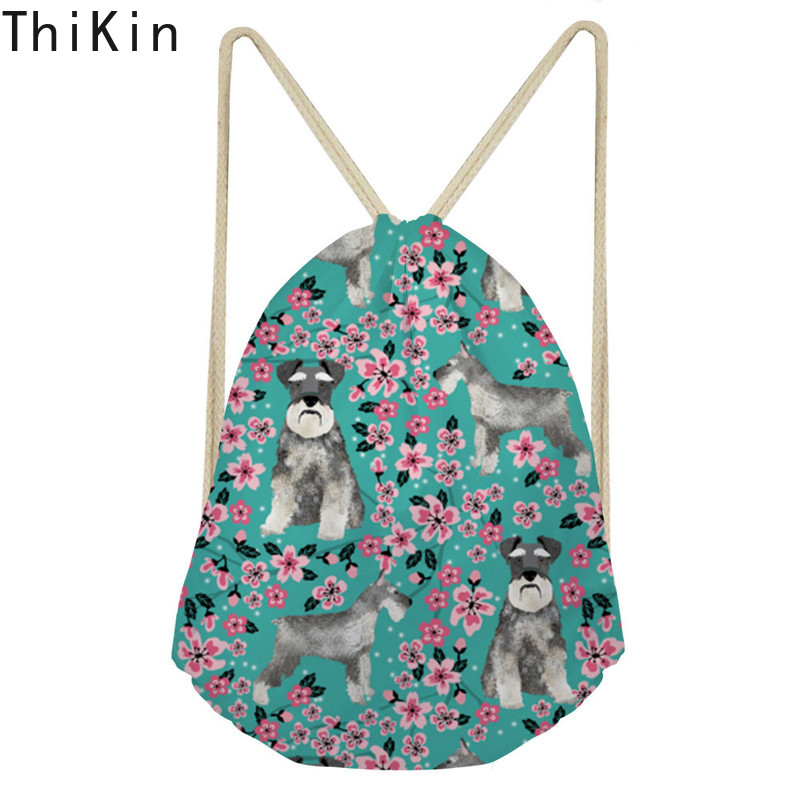 THIKIN Fashion Drawstring Bag 3D Printing Schnauzer Pink Floral Casual Girls Knapsack Storage Bags for Shoes