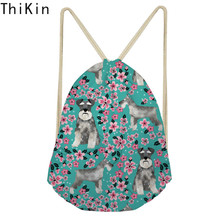 THIKIN Fashion Drawstring Bag 3D Printing Schnauzer Pink Floral Casual Girls Knapsack Storage Bags for Shoes Travel Mochila 2019