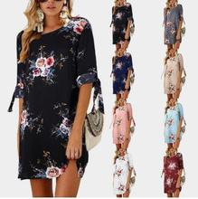 Half Sleeve Summer Dress Boho Floral Print Chiffon Plus Size Short Beach Gowns