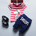 2017 Hot Baby Infant Cartoon Fashion Sports Short Sleeve Striped T-shirt Top + Pants 2pcs Set Children's Set