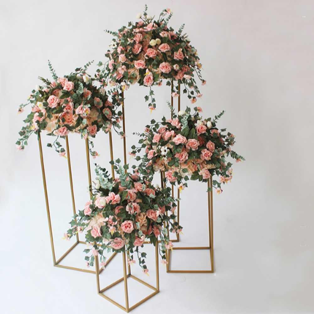 10PCS Gold Blume Vase Boden Vasen Spalte Stehen Metall Straße Führen Hochzeit Tafelaufsatz Blume Rack Event Party Dekoration