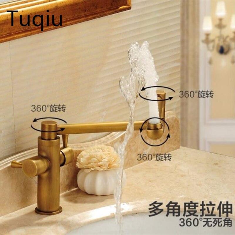все цены на Foldable Basin faucet brass bathroom faucet single handle torneiras para pia de banheiro sink kitchen faucet water tap faucet онлайн