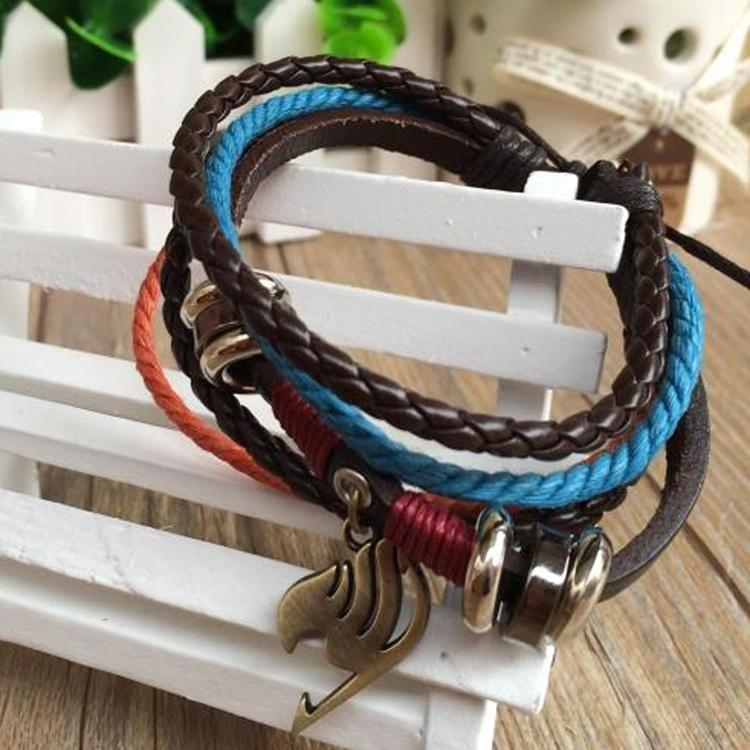 Anime Cosplay Fairy Tail Leather Bracelet Muti-Layer Bangel Cuff Unisex 1PC