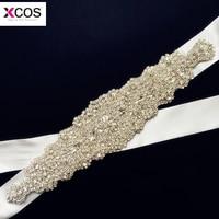 Real Sample Luxury Crystal Rhinestone Bridal Sash Wedding Belts Satin Ribbon Beading Wedding Accessories