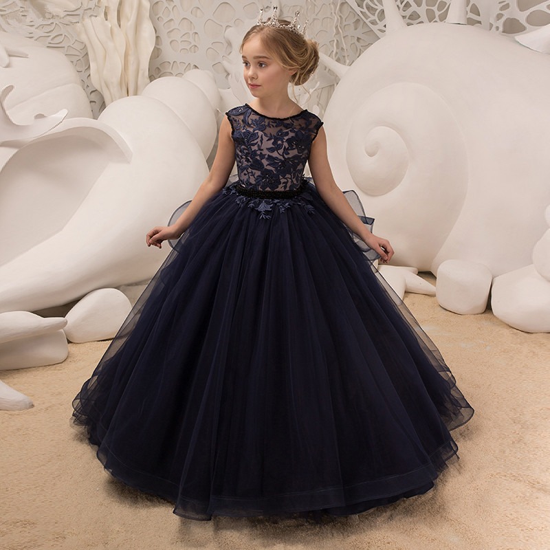 New Arrival Ball Gown   Flower     Girl     Dresses   With   Flowers   Pleat Long Sleeves   Flower     Girl     Dresses   For Wedding
