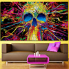 Funky Prints Modern Color Skeleton Oil Painting Decorative Picture Abstract Crown Hat Skull Painting On Canvas