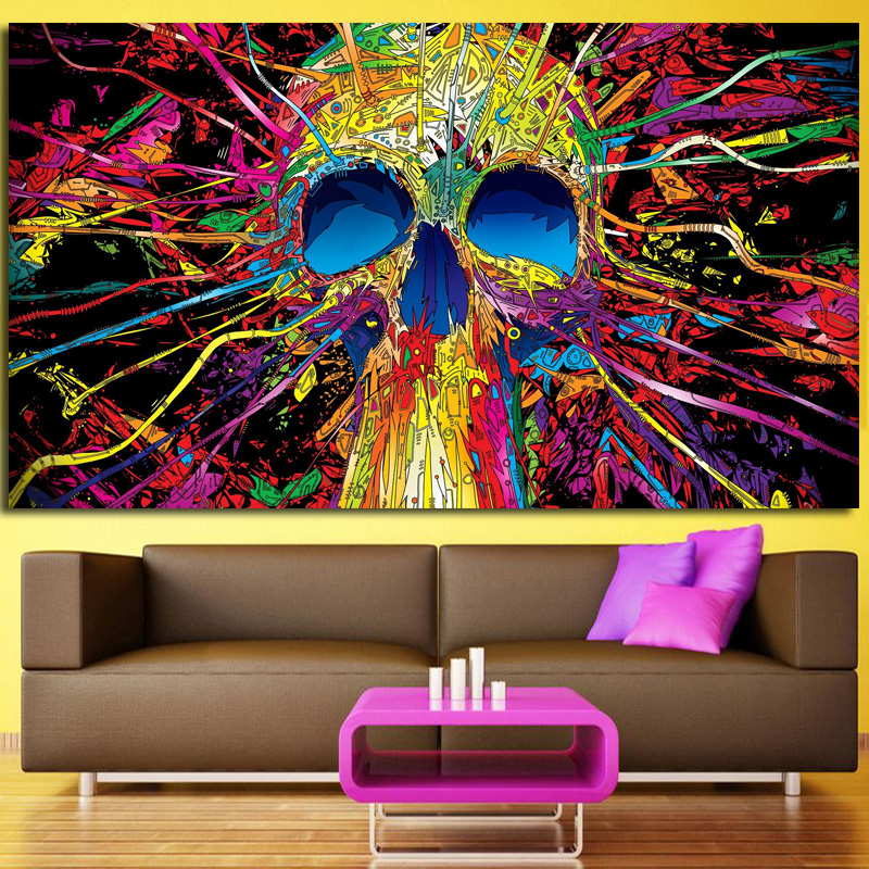 Funky Prints Modern Color Skeleton Oil Painting Decorative Picture Abstract Crown Hat Skull On Canvas For Room
