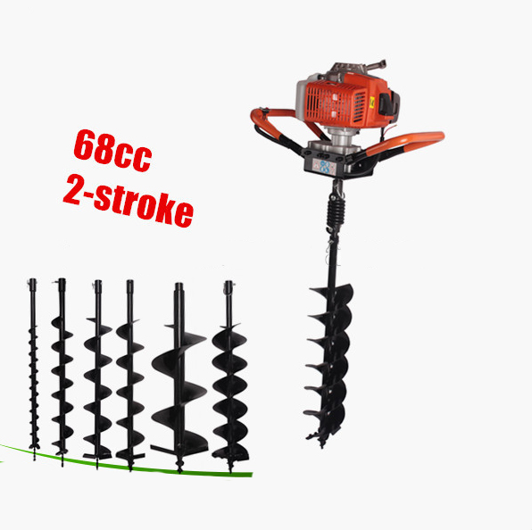 Good quality portable auger drilling rig fence post auger small earth auger 68CC gasoline digging hole powerful 82cc hole digging tools earth auger drilling machine heavy duty digging hole auger anchor