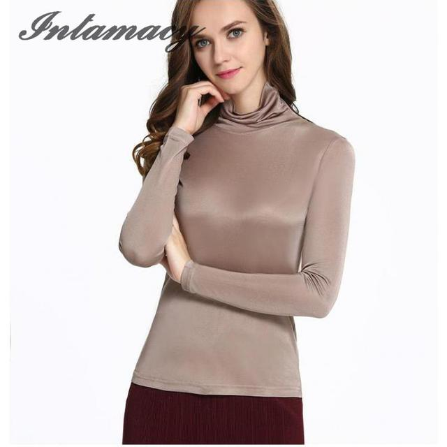 100% real Silk 150g double-sided Knit Female Shirt Sleeved Turtleneck Shirt Lapel Jacket