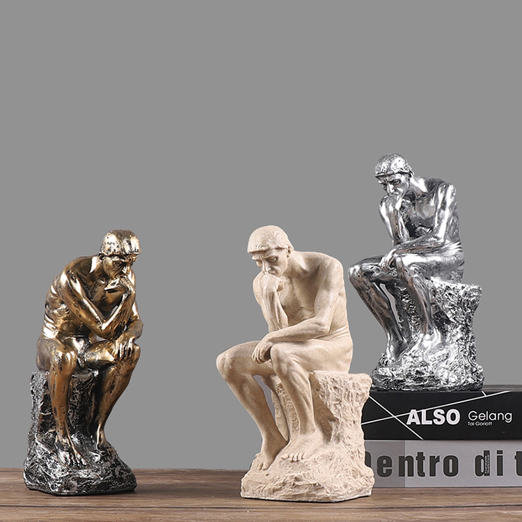 Thought Thinking Art Crafts Home Decor Sculpture Resin sandstone Creative Character Ornament Thinker statue figures