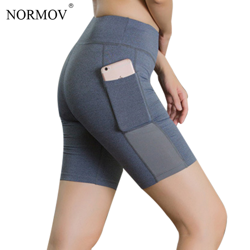 NORMOV Solid Casual High Waist Shorts Women Summer Pocket Sweat Shorts Female Fitness Cl ...