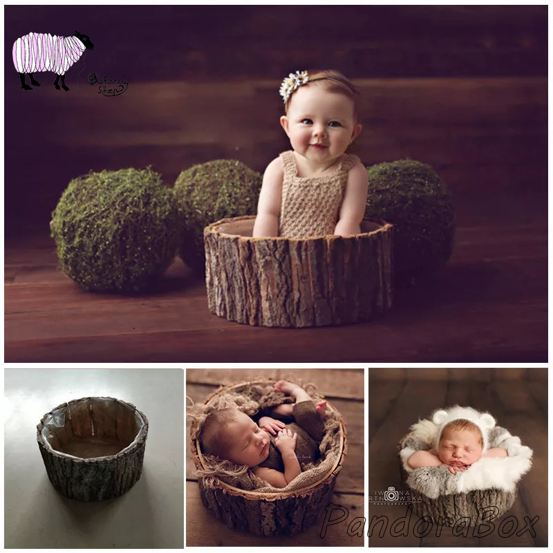 36*18cm Wood Basket Newborn Photography Props Baby Boy Girl Photo Shoot Posing Studio Wooden Bed Prop Bebe Fotografia Accessorie