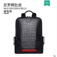 Gete 2019 2019 новый рюкзак из крокодиловой кожи ручной работы Nile Аллигатор живота Дорожная сумка Повседневная модная мужская мужской рюкзак