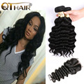 Peruvian Virgin Hair Loose Wave With Closure 3 Bundles With 1pc Lace Closure 100% Human Hair Beach Wave