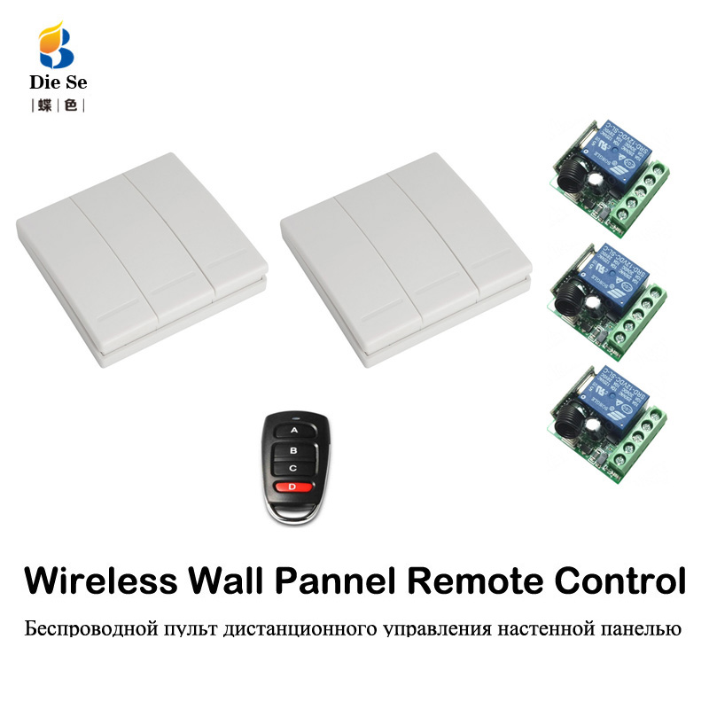 433MHz Wireless Remote Control Switch DC 12V  3CH Lamp Light LED Bulb Wireless Switches Corridor Room Home Wall Panel Switch