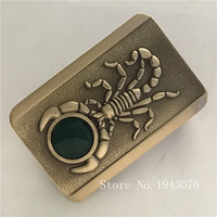 Retail 2018 Latest Styles High Quality Rectangle Cool Scorpion Solid Brass Fashion Men Belt Buckle With