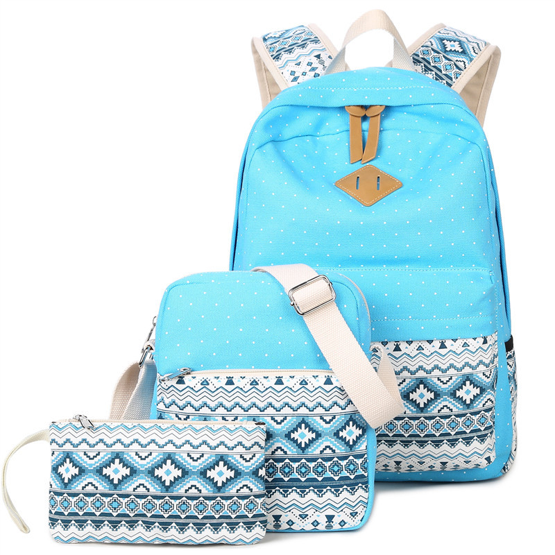 3 pcsset stylish canvas printing backpack women school