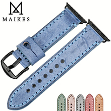 MAIKES Fashion Blue Leather Watch Strap Replacement For Apple Band 44mm 40mm 42mm 38mm Series 4 3 2 1 iWatch Watchbands