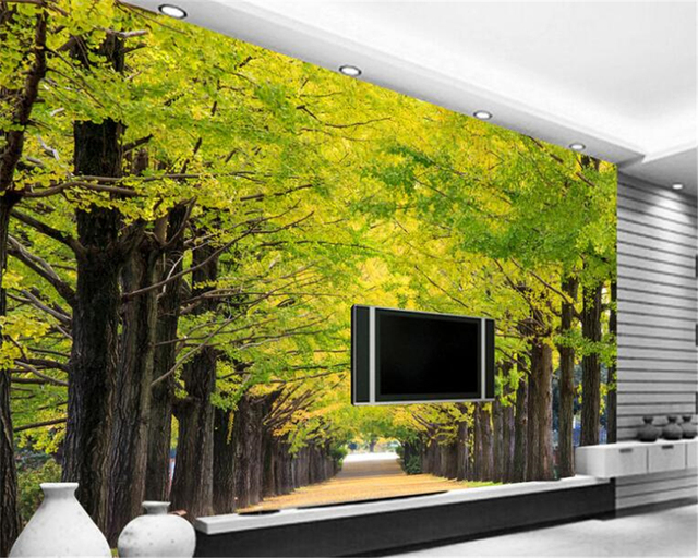 beibehang painter home decoration painting ginkgo tree boulevard ...