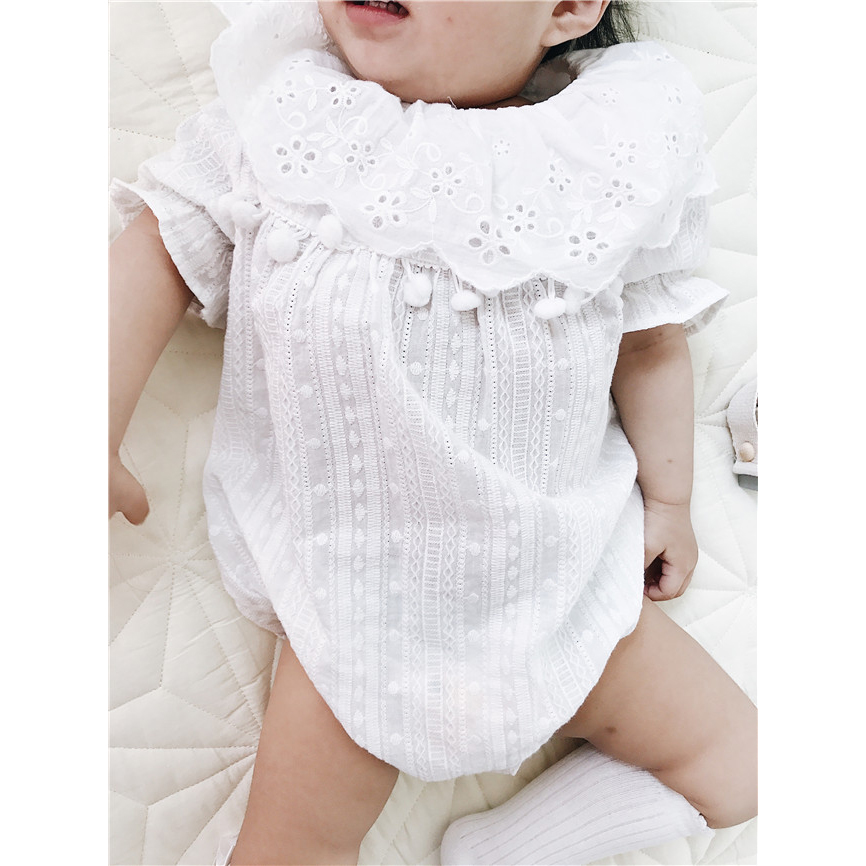 2017 summer  new INS burst baby girl Jacquard lace lace baby cotton one-piece climbing clothes