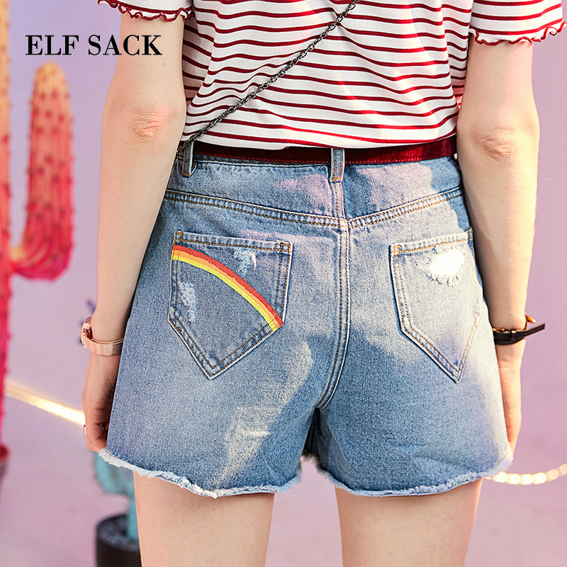 ELFSACK Sky Blue Frayed Denim Women Shorts Fashion Pockets Rainbow Print Streetwear Shorts Female 2019 Summer Cotton Bottoms