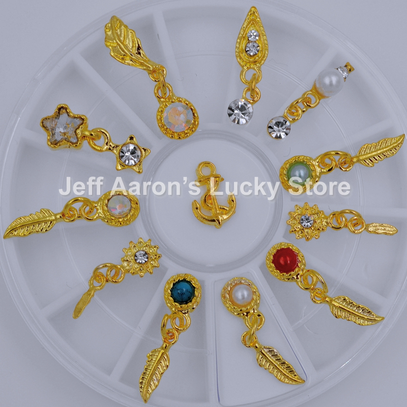 12PCS Glitter Nails Rhinestones Pendant Feather Charms Jewelry Accessories Wheel Beauty Metal Gold 3D Nail Art Decoration Tools
