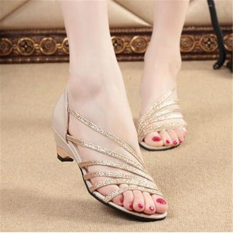 Silver sandals female summer open-toed with wild sexy thin Europe and the United States set foot fish mouth thick with high heel in the summer of 2016 the new wedge heels with fish in square mouth denim fashion sexy female cool shoes nightclubs