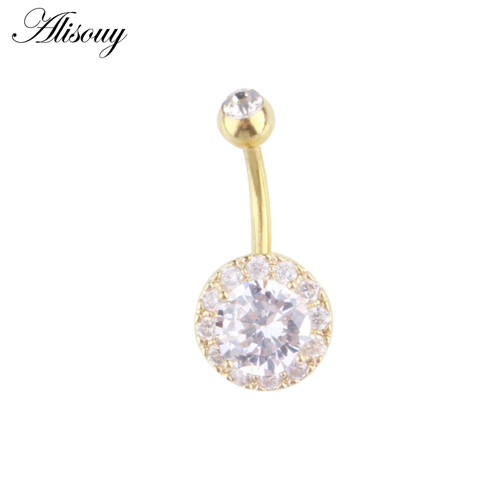 Jewelry & Accessories 316l Anti Allergy Medical Steel Quality Sexy Belly Button Rings Double Cz Austrian Crystal Style For Women Belly Piercing