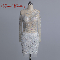 Короткие Русалка вечернее платье вызвало Кристалл бисера с длинным рукавом Тюль Выпускные платья Для женщин официальная Вечеринка платье
