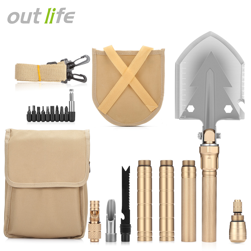 Outlife Multifunctional Military Folding Shovel Portable with Carrying Bag Army Multi tools for Camping
