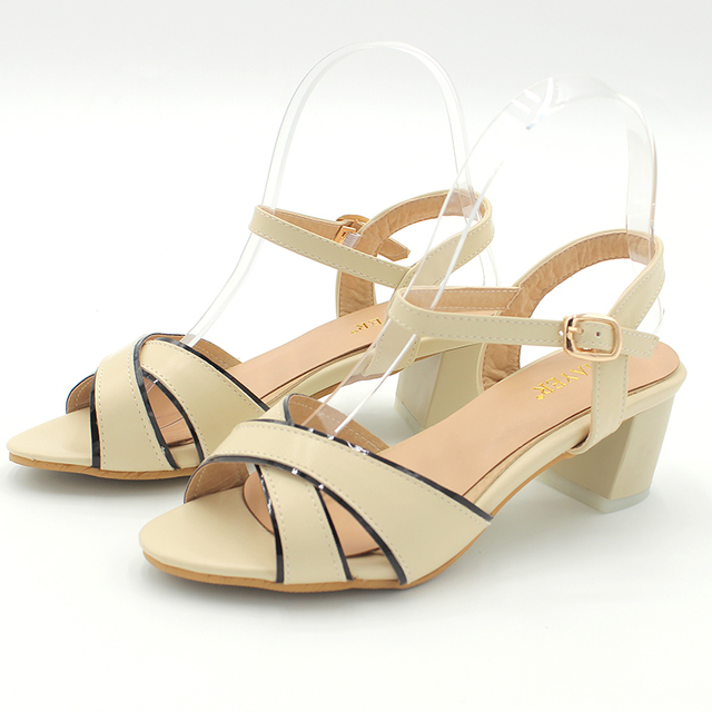 ENMAYER New Women Square Heel Buckle PU Leather Fashion High-heeled 4 Colors Pink Shoes Casual Woman Sandals Large Size 34-45