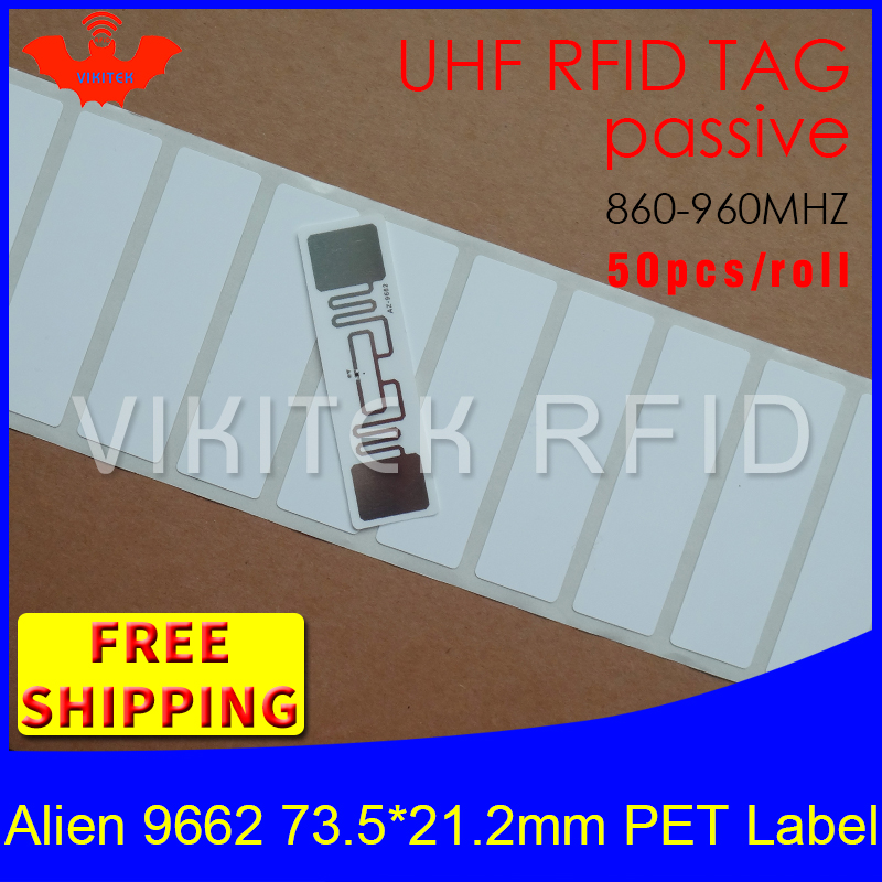 RFID tag UHF sticker Alien 9662 oil and water proof PET label 915m868mhz EPC 6C 50pcs free shipping adhesive passive RFID label rfid tire patch tag label long range surface adhesive paste rubber alien h3 uhf tire tag for vehicle access control