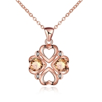 Trendy Wedding Jewelry Necklace For Women 2016 Fashion Plated Rose Gold Necklaces Chains Heart Zircon Pendant Bijoux Girl Gift