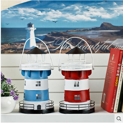 Fashion Mediterranean Style Iron Lighthouse Candle Holder Home Resteraunt Decoration Candle Holder Tabletop Rustic Home