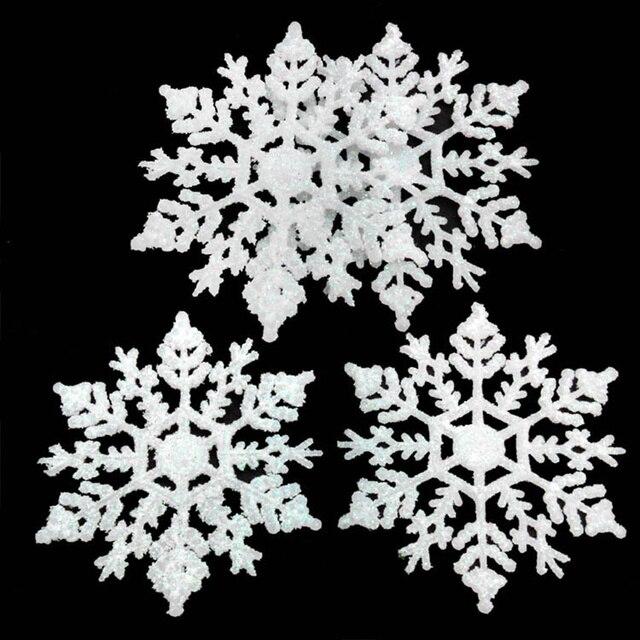 12 шт. Пластиковые искусственная Снежинка Рождественская елка кулон орнамент Рождественское украшение для нового года домашняя вечерние поставки