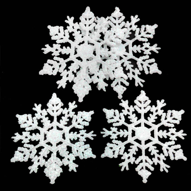 12pcs plastic artificial snowflake christmas tree pendant ornament christmas decoration for new year home party supplies