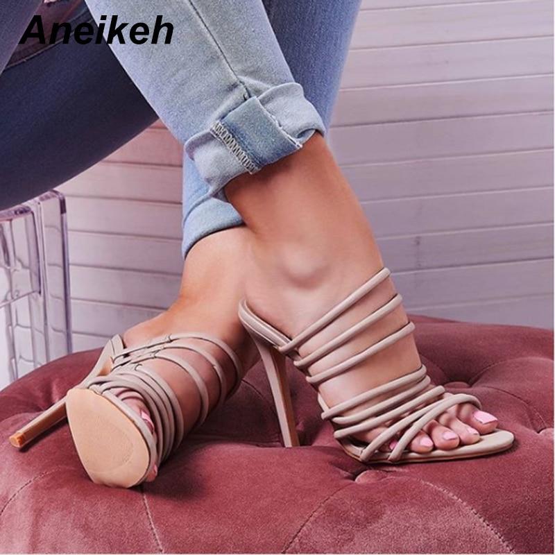 Aneikeh/Модные женские босоножки из искусственной кожи с узкими ремешками на щиколотке, сандалии гладиаторы с вырезами и открытым носком, босоножки на высоком каблуке шпильке