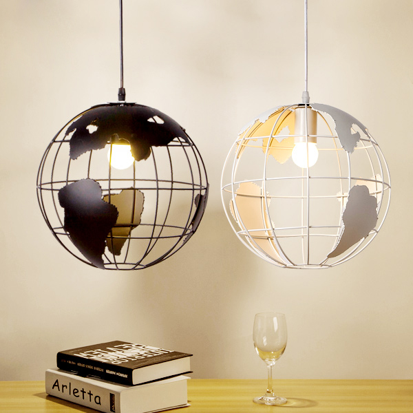 Hanging Light Fixture Nordic A Globe Pendant Lampshade Black White Modern Contracted Creative Earth In Lights From Lighting