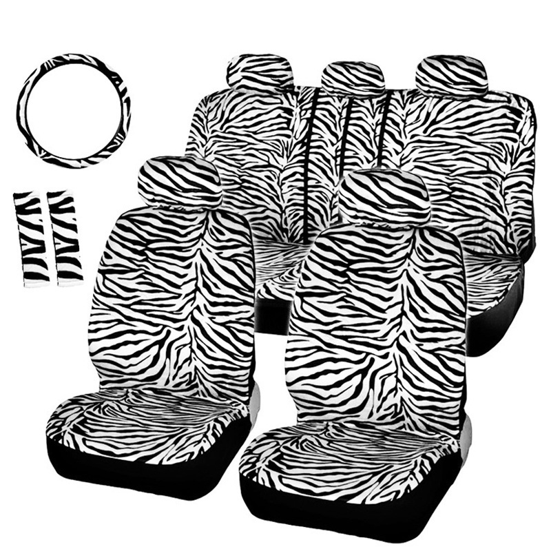 Car Seat Cover Universal Automobile Seat Protector Cover Zebra Lines Car-Styling And Steering Wheel Cover Shoulder Pad Accessory