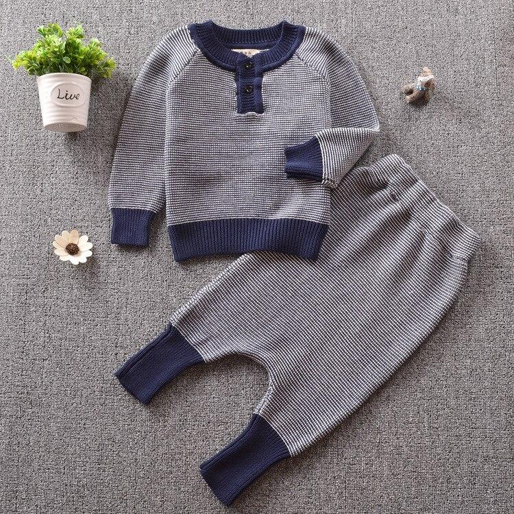 Kids Striped Knit Jumper + Knit Harm Pants 2pcs Babys Winter Set Kids Fashion Warm Clothes