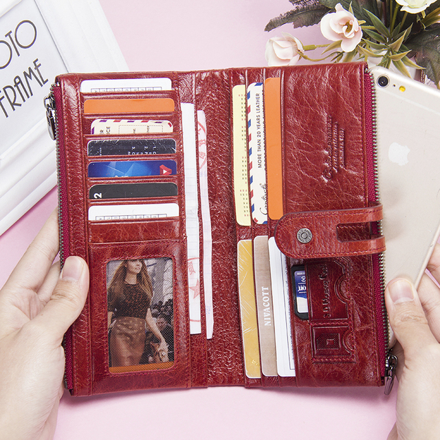 Women Purses Long Zipper Genuine Leather Ladies Clutch Bags With Cellphone Holder High Quality Card Holder Wallet 3
