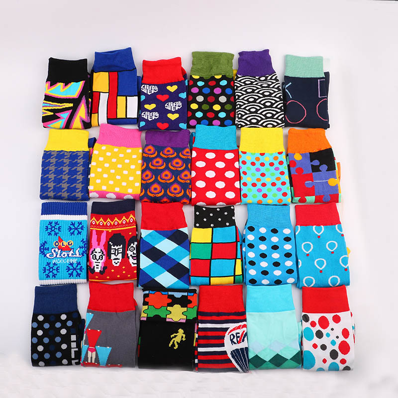 Colorful Cotton Happy Socks Funny British Dot Style Unisex Skateboard Socks Cotton Colorful Mens Fashion Business Underwear & Sleepwears