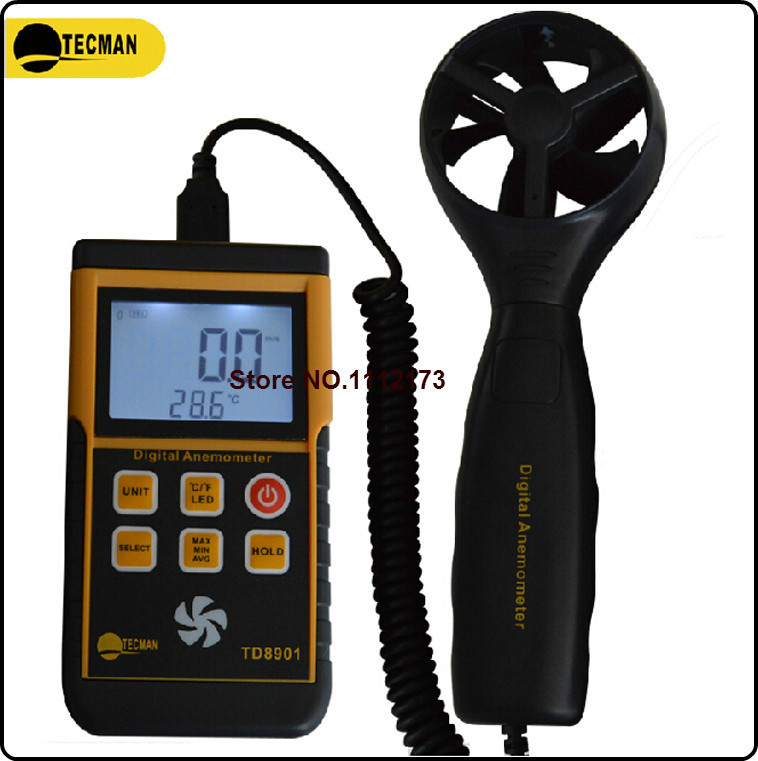 TECMAN TD8901 0.3-45M/S split digital anemometer wind speed meter Air Flow Velocity Meter Thermometer air speedmeter-Without box with carry box lcd digital anemometer as806 0 45m s wind speed sensor hand held anemometer thermometer air speed meter