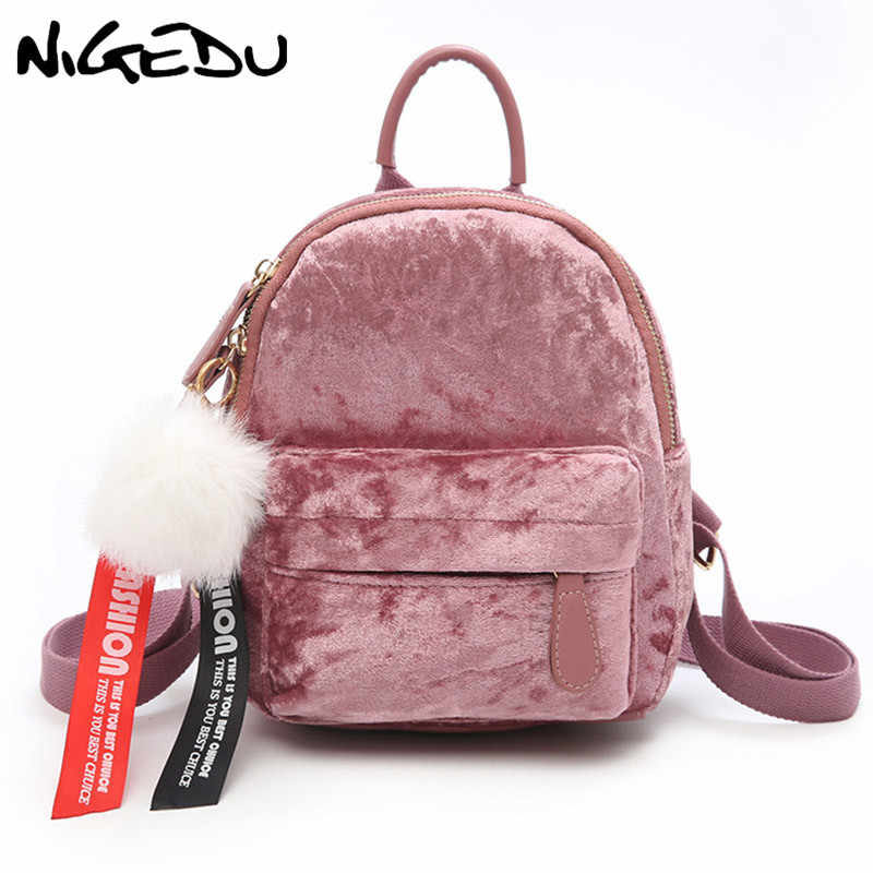 2cd29094df35 Detail Feedback Questions about Velour Backpacks Female Mini Women ...