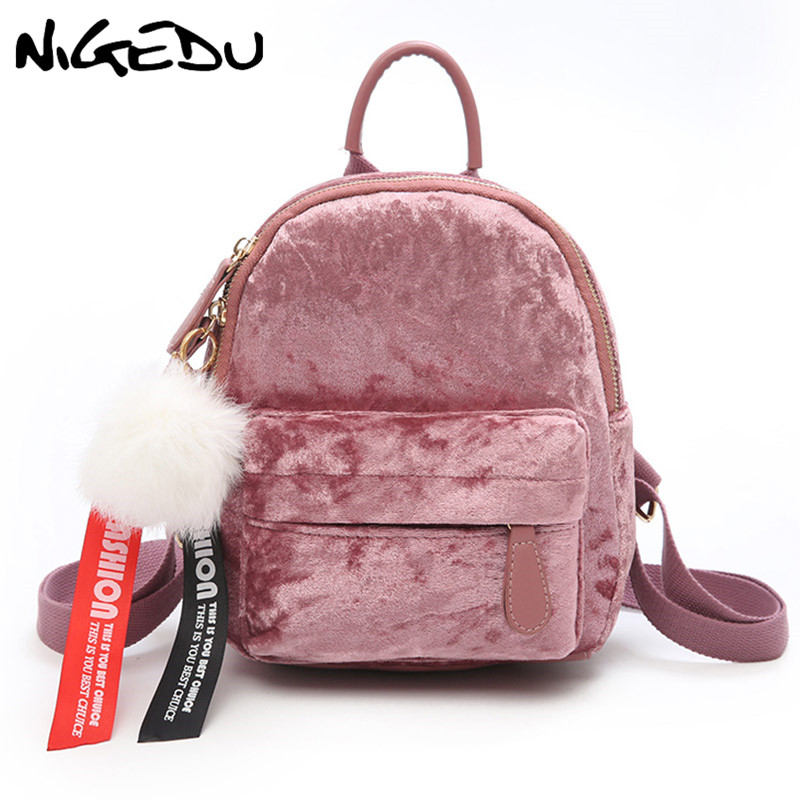 Velour Backpacks Female Mini Women Backpack Back Pack School Bags Teenage  Girls Cute Pink Velvet Hairball Bag mochila bagpack-in Backpacks from  Luggage ... 0d6001369bca6