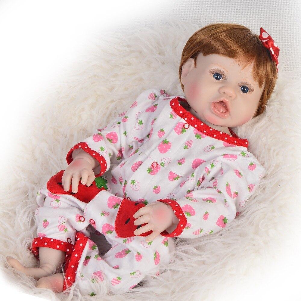 55 cm Silicone reborn bébé poupées jouets très mignon bambin bébés fille poupée bebe Reborn vinyle poupée pour filles fête cadeaux jouet ethnique