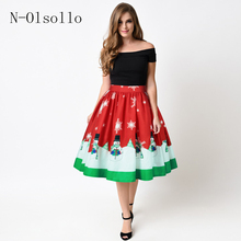 2017 Saias Midi Tutu Skirts Fashion Elastic Waist Sexy 3D Christmas Series Printed Women Skirts Polyester Fashion Casual Skirts